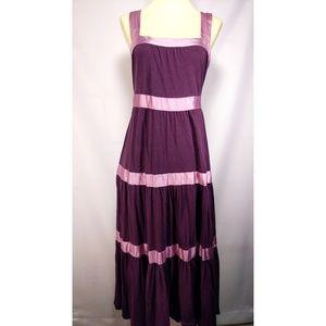 Free People purple satin ribbon midi sun dress